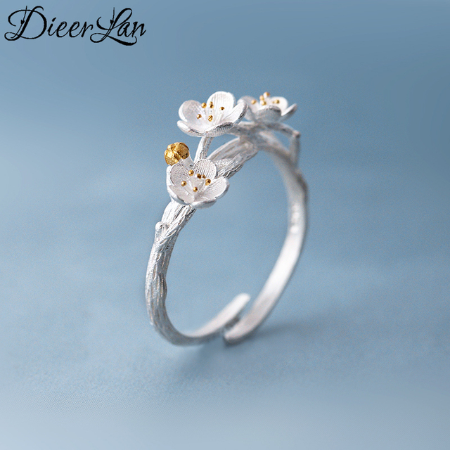 2017 New Arrivals Pure 925 Sterling Silver Cheery Flower Rings for Women Adjusta