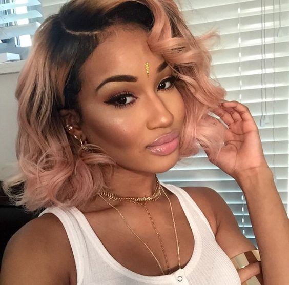 Short Sexy Curly Glueless Wigs Ombre Blackdark Pink Lace Front