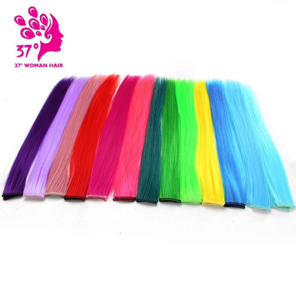 13 Colors 40CM color Clip In One Piece Hair extensions Synthetic Long Straight  Grey pink purple Red Hair Pieces 10pcs/lot