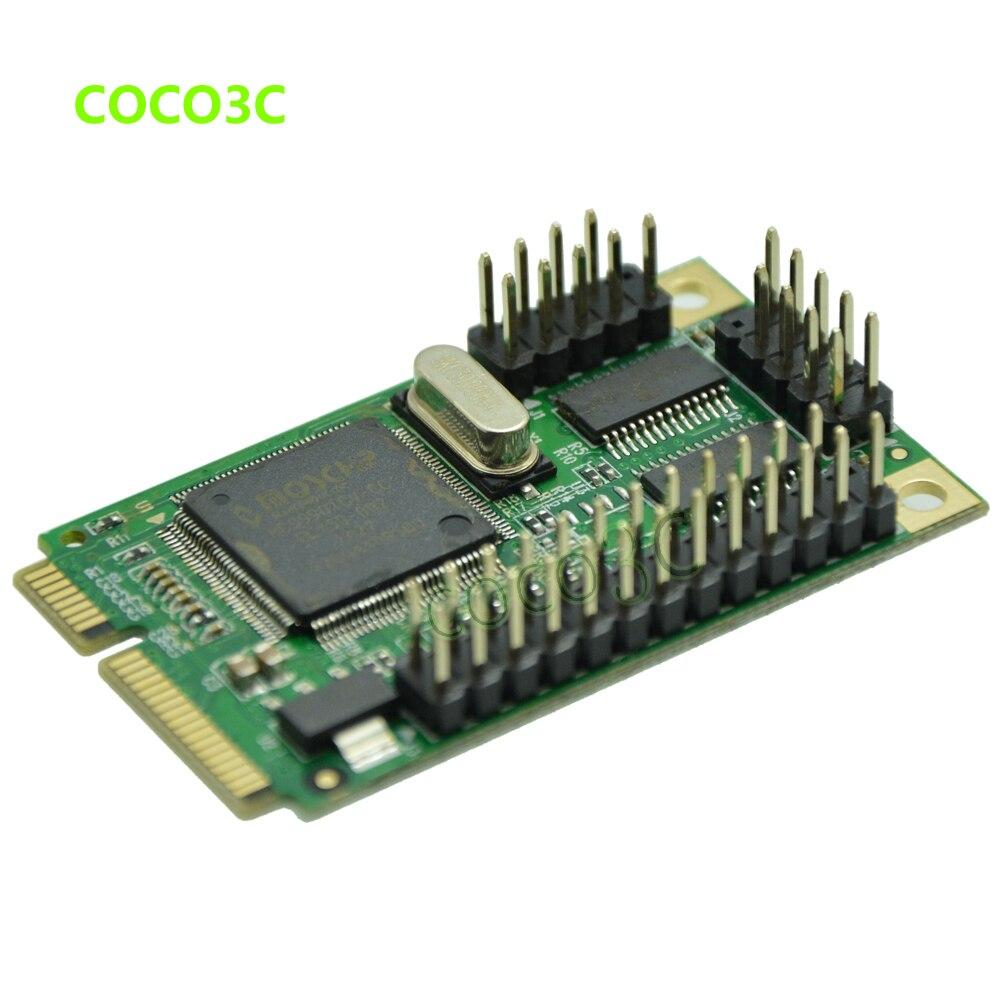 Мини PCI-Express 2 RS-232 адаптер портов для материнская плата Mini ITX мини PCIe 2 серийный DB9 порты, контроллер карты