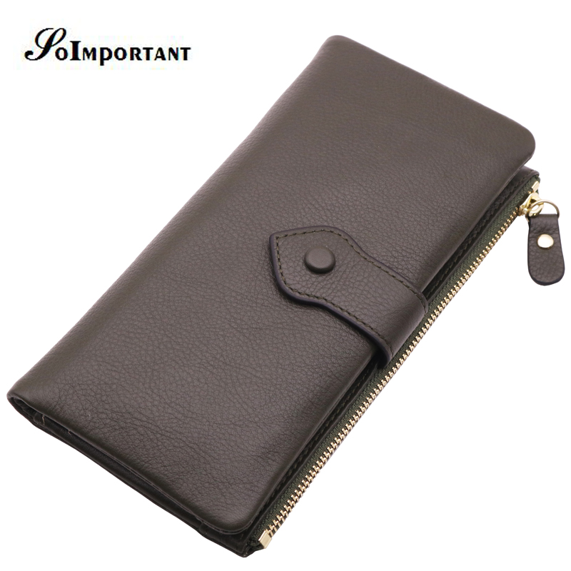 Vintage Luxury Brand 100% Genuine Cowhide Leather Portomonee Walet Male Wallet Men Long Clutch With Zipper Coin Purse Pockets