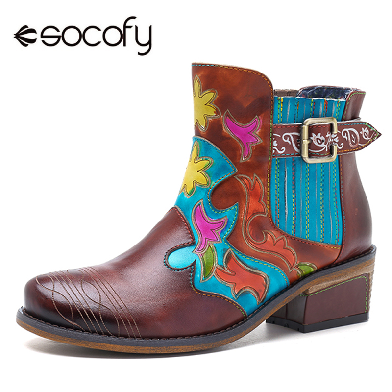 Socofy Retro Women Boots Genuine Leather Shoes Woman Bohemian Vintage Slip-on Spring Autumn Ankle Boots Casual Winter Shoes New xiaying smile spring autumn winter style woman shoes casual fashion cool increased internal shoes slip on rubber women shoes