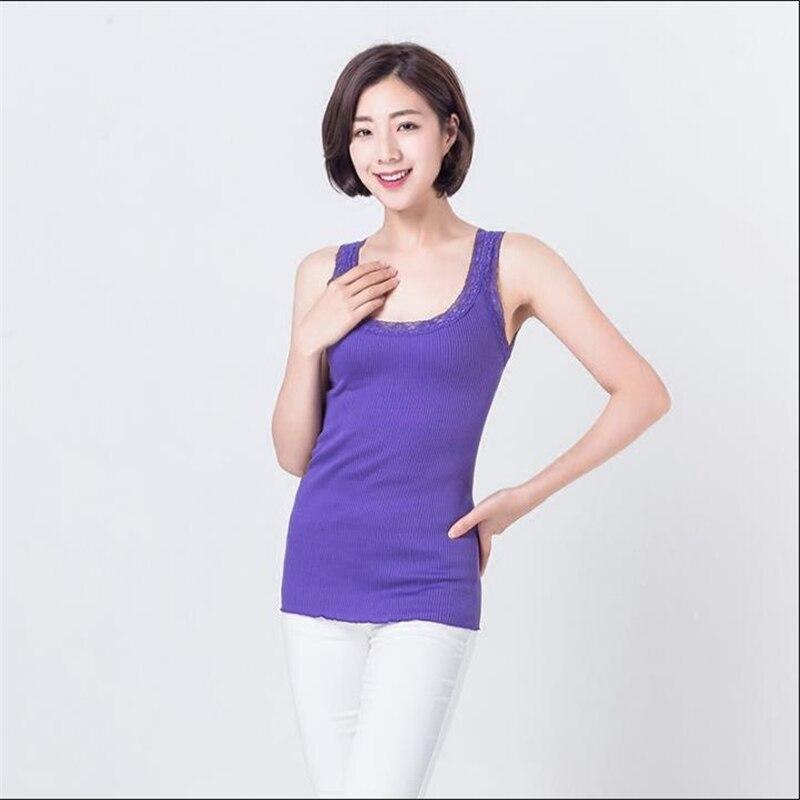b4fd034c8 الإناث الربيع زائد حجم الصلبة يا الرقبة تمتد أكمام 80% الحرير قمم امرأة  الصيف الدانتيل لصق التحوط الحرير تيز سيدة قميص