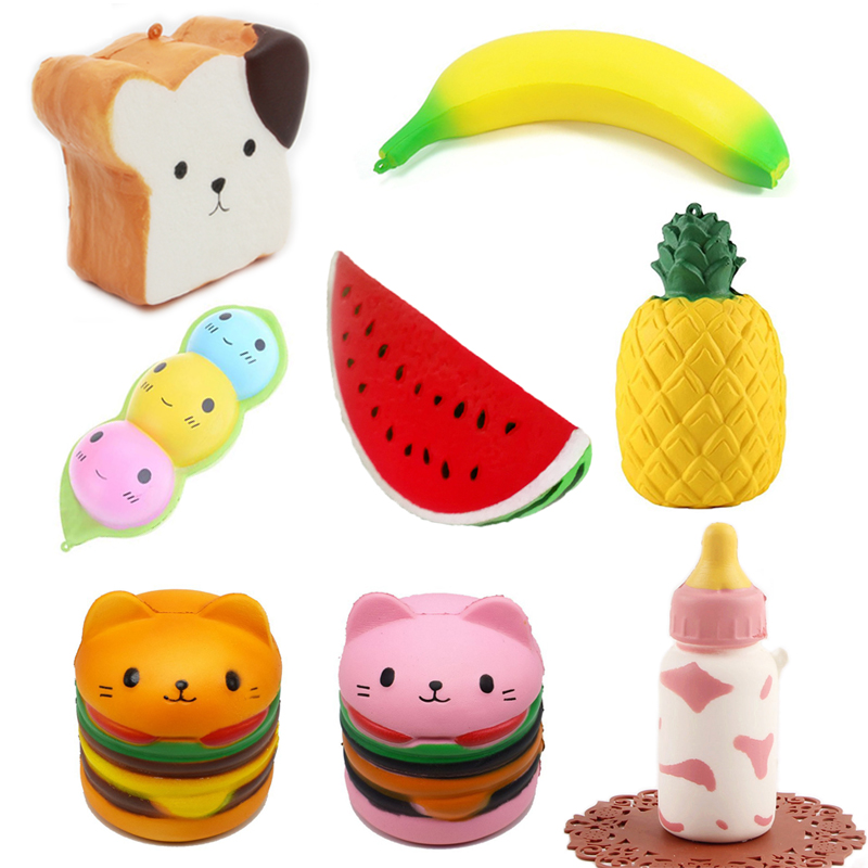 8 Style Funny Creative Squishy Simulation Strawberry Cake Toast Watermelon Pineapple Relieves Stress Toys Gift For Children