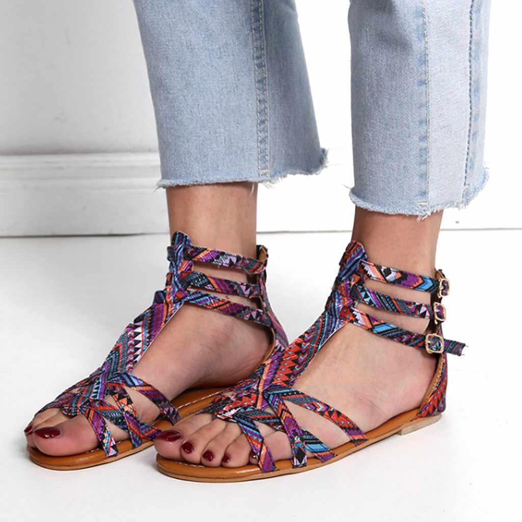 ฤดูร้อน 2019 ขายร้อนผู้หญิงแห่งชาติลมรองเท้าแตะสไตล์ Bohemian รองเท้าแตะขนาดใหญ่ความคมชัดนุ่มรองเท้าแตะหรูหรา