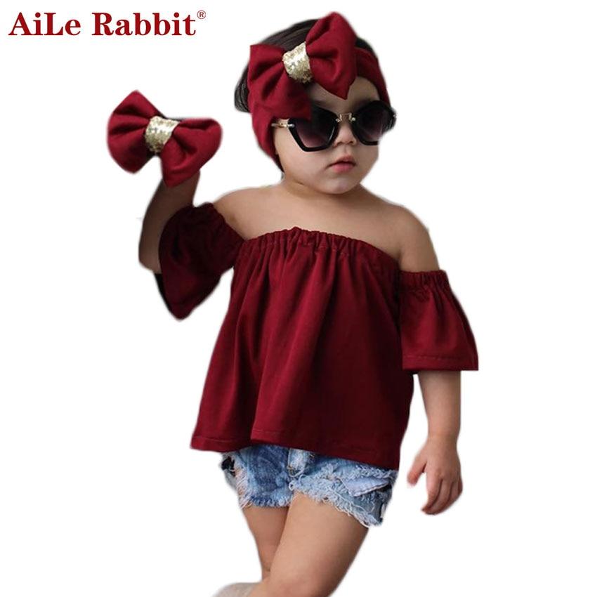 AiLe Rabbit INS nejnovější dívky oblečení oblek košile džínové kraťasy čelenka 3 ks sada módní luk víno červený límec děti top k1