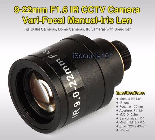 """9-22mm 1/3 """"IR F1.6 CCTV Video Variabler brennweite Zoom Objektiv für CCTV Überwachungskamera"""