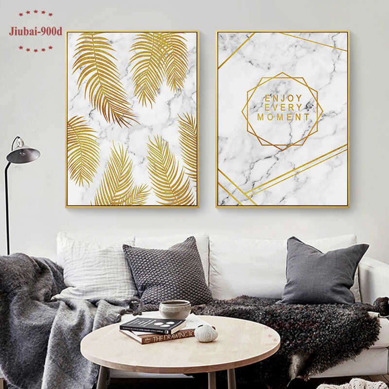 900D Gold Leaf in Marble Wall Art Canvas Painting Wall Pictures For Room Decoration Nordic Art Canvas Posters and Prints SAN014