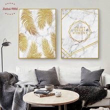 900D Gold Leaf in Marble Wall Art Canvas Painting Pictures For Room Decoration Nordic Posters and Prints SAN014