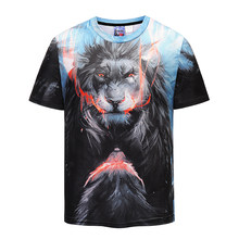 Mr.1991INC Men's Summer Tops Cool 3d Print Angry Lion T-shirts Man Hip Hop Punk O Neck Workout tshirt(China)