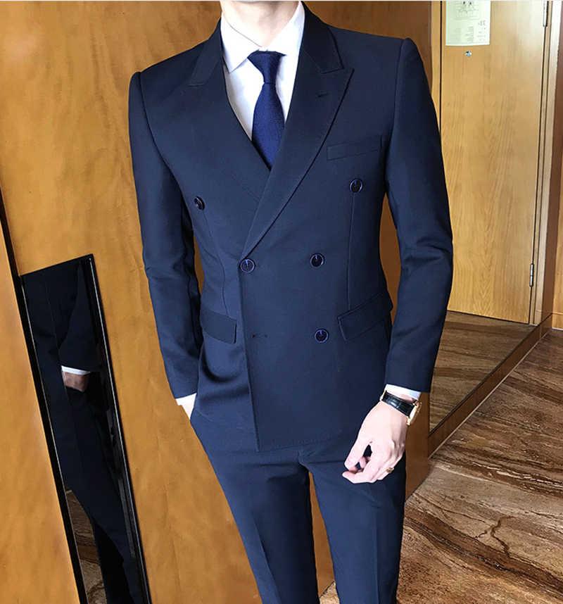 Terno masculinoタキシードスキニー正式な男性スーツカスタムメイドスリムフィットセットフロントパンツウェディングスーツ2018 traje hombre anzugヘレン
