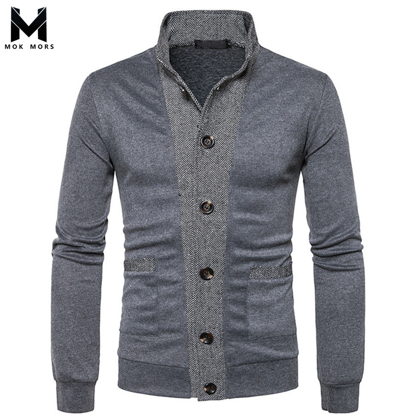 Autumn And Winter Men's New Casual Stitching Lapel Long Sleeve Mens Sweaters Fashion Business Casual Solid Color Men Sweaters