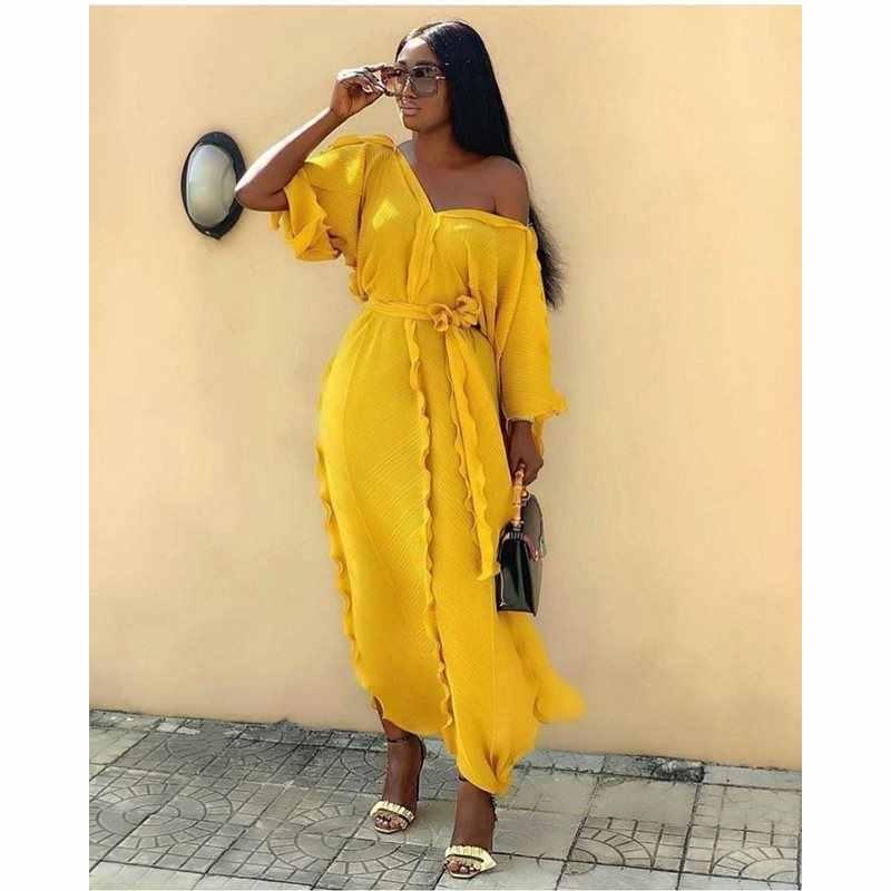 Зеленое элегантное вечернее пляжное платье для путешествий, большие размеры, женские длинные платья, кружевное Плиссированное в Африканском этническом стиле желтое синее Макси платье