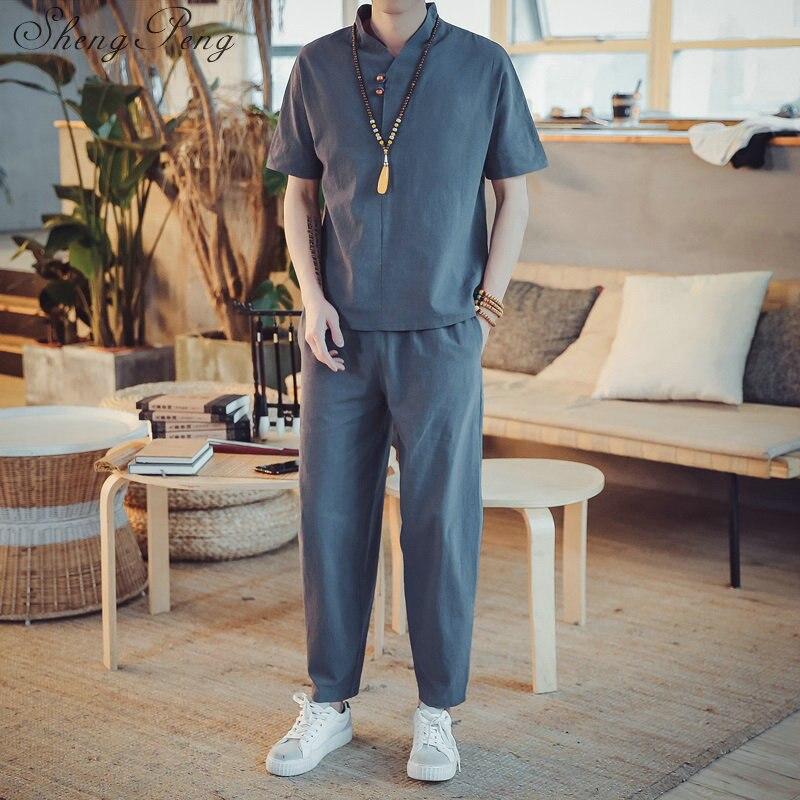 Chinese Traditional Elegant Linen Men Suit 1