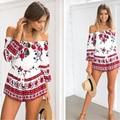 YEMUSEED 2017 Sexy fora do ombro vermelho estampado floral elegante Estilo praia curto playsuit jumpsuit romper 2016 Verão Mulheres macacão