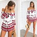 YEMUSEED 2017 Sexy fuera del hombro rojo de la impresión floral elegante Estilo beach short playsuit mono del mameluco de 2016 Del Verano Mujeres trajes