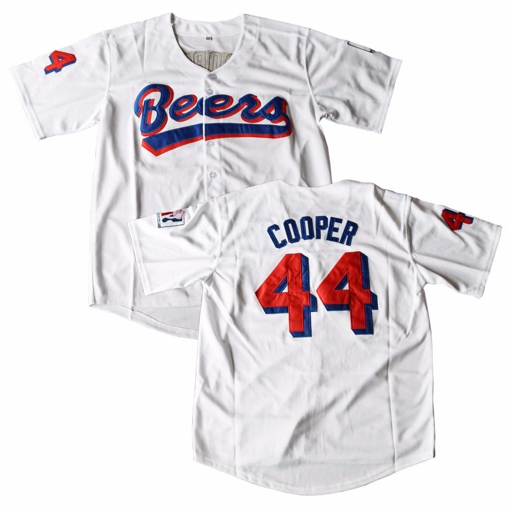 MM MASMIG Joe Cooper #44 Cervejas Filme Jersey Costurado Baseball Jersey BASEketball Branco