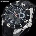 men sport watches BOAMIGO brand men dual display watches rubber band 2017 black men digital analog LED wristwatch 30M waterproof