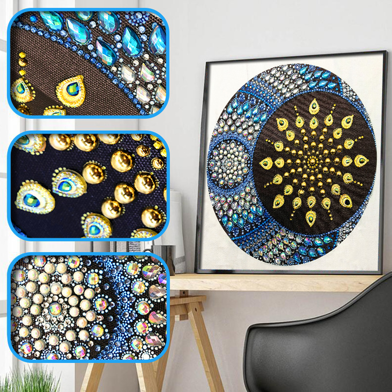 RUBOS DIY 5D Diamond Embroidery Mandala Sun Triptych Diamond Painting Multi Picture Rhinestones Pearl Big Mosaic Sale Wall Decor (24)