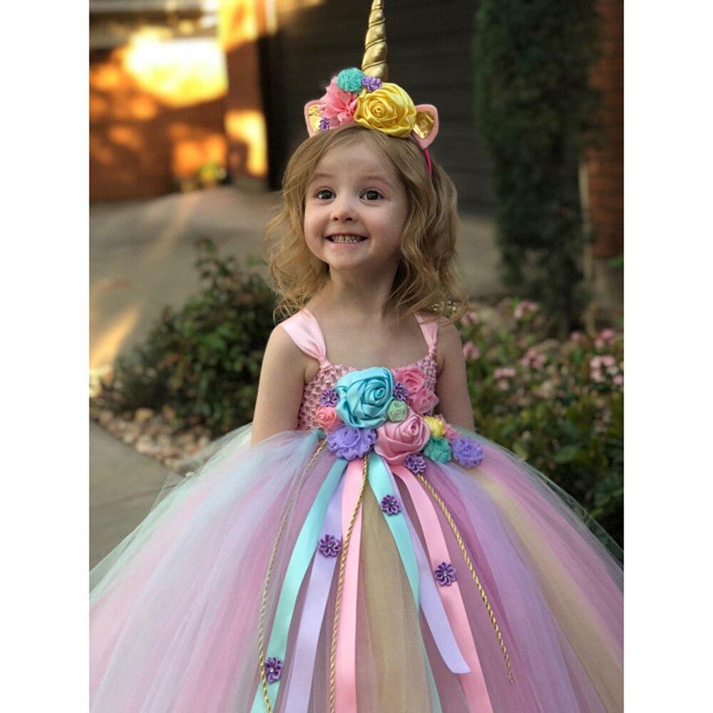 Girl Dresses Kids Long Unicorn Costume for Girls Ankle Length Sleeveless Flower Unicorn Party Dress Tutu Little Pony Ball Gown (7)