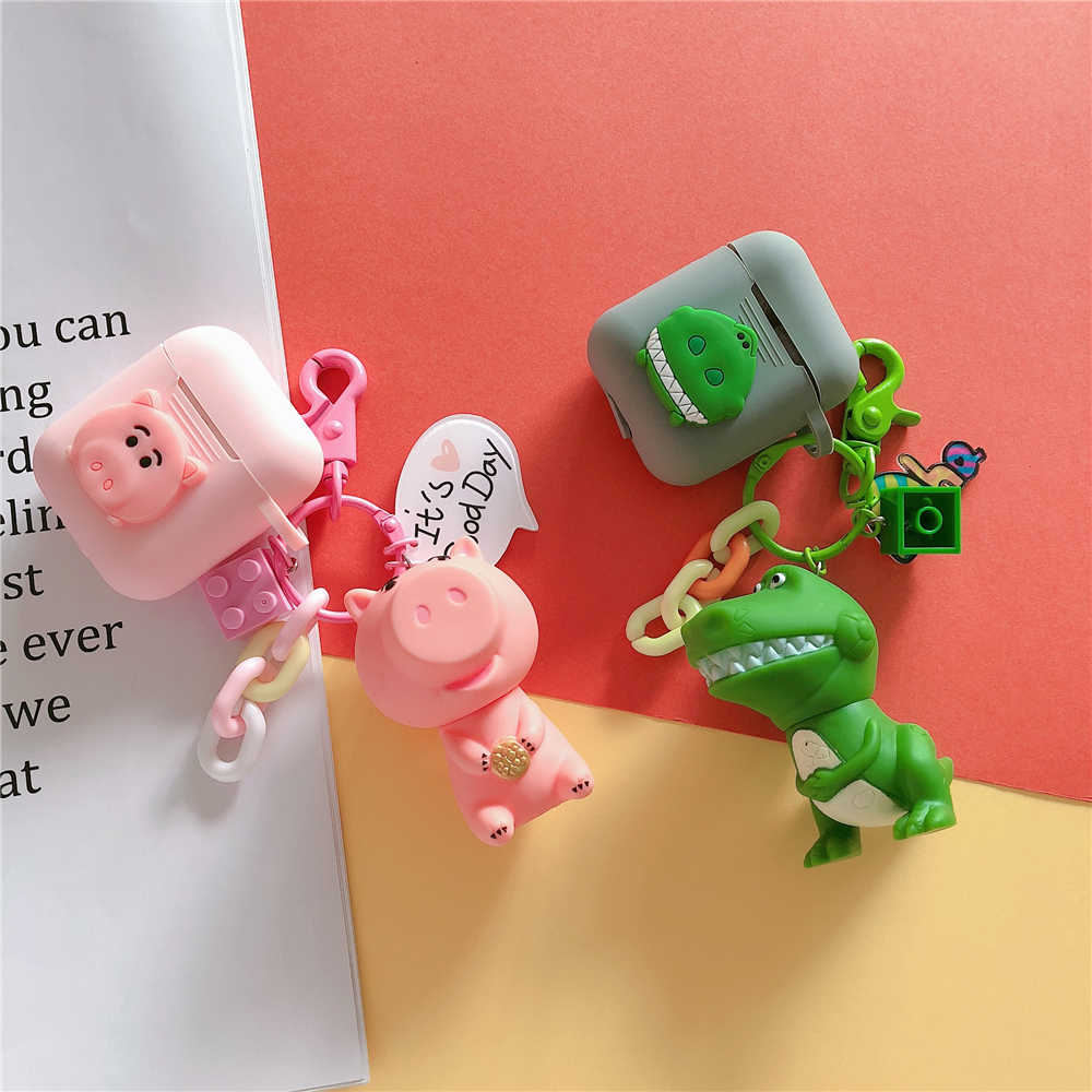 Cute Toy Story Rex The Green Dinosaur Hamm Pig Silicone Cases For Apple Bluetooth Earphone Airpods Cover Air Pods 2 Acessorios