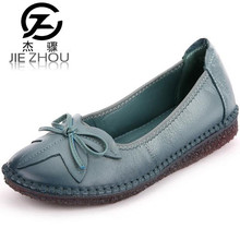 Soft bottom non slip leather casual shoes leather shoes handmade flowers Sewing flat shoes Thick crust