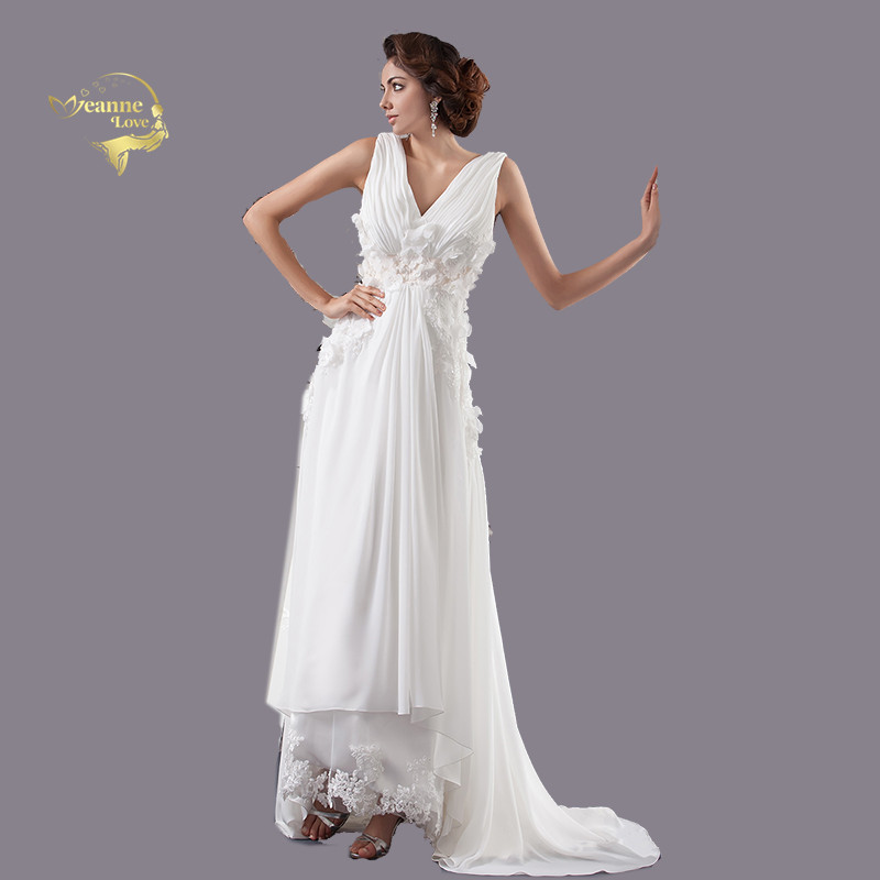 Free Shipping Cheap Beach White Wedding Dresses Plus Size Chiffon Bridal Gown Lace Flowers Robe De