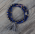 Exclusive 3 Strands Lapis with Gold Beads Stretch Tassel Bracelets Handmade Elastic Bead Bracelet Wholesale Bracelet