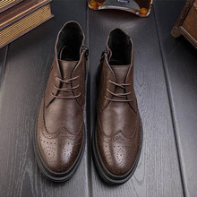 Spring Boots Male Leather Retro Boots Male Head Shoes Men Shell Head Martin Boots Men Casual Boots Men 292-4