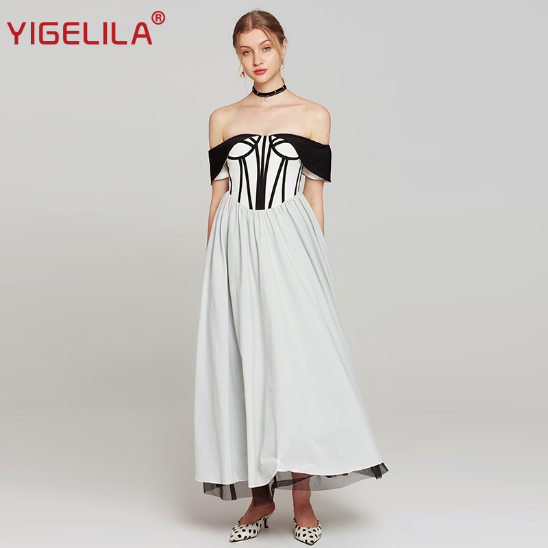 YIGELILA Women Off Shoulder Party Dress Summer Fashion Slash Neck Patchwork Empire Slim Floor Length Backless Long Dress 63943