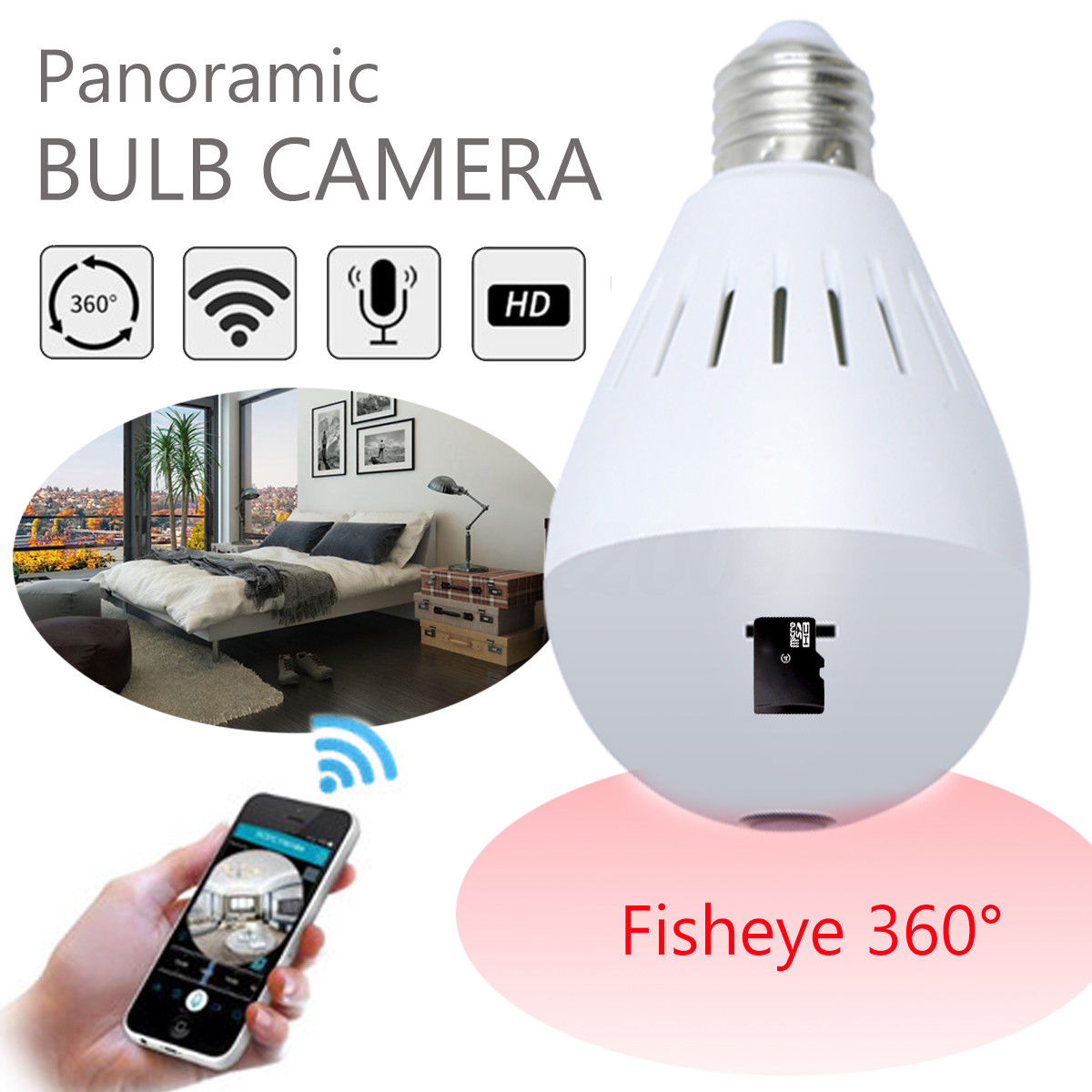 360 Panoramic Camera Network Wireless HD 1080P Camera Monitor CCTV Home Security Fisheye Camera Bulb E27 Night Vision new hd 3mp led bulb light wireless camera fisheye panoramic wifi network ip home security camera system for ios android p2p