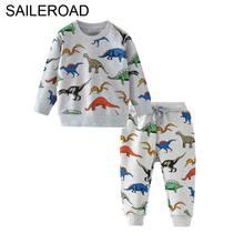 SAILEROAD Костюмы для динозавров с принтом для мальчиков с длинным рукавом Осень из двух частей Наборы одежды для малышей из хлопка Комплект одежды для хлопка