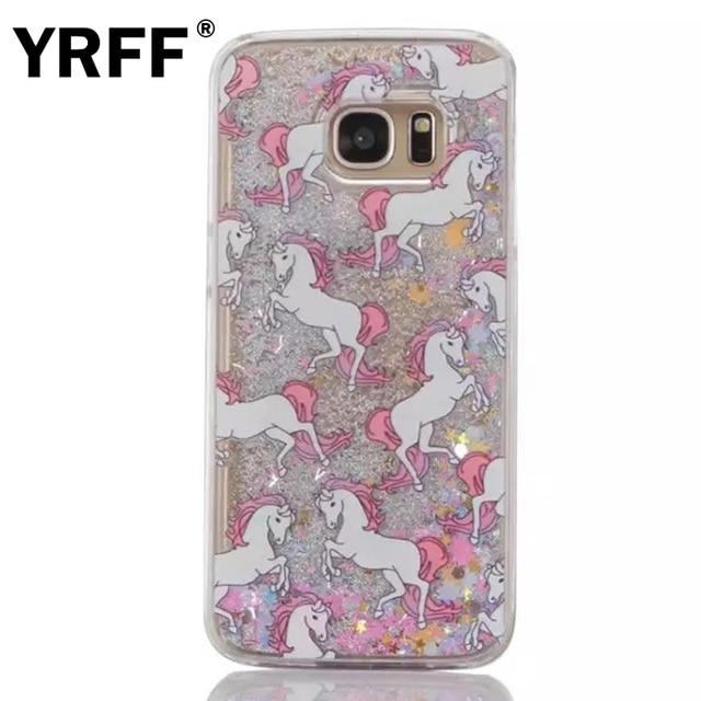 cheap for discount e2984 06a0d US $2.8 20% OFF|Glitter Dynamic Liquid Quicksand Horse Unicorn Case Cover  For Samsung Galaxy s5 s6 edge s7 edge i9600 G920 Transparent Hard Case-in  ...