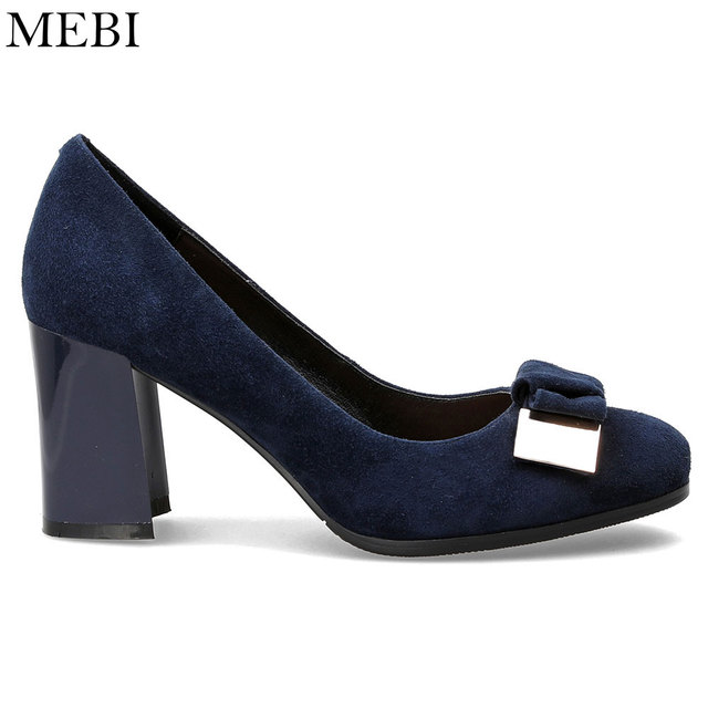 2db61adb4fa MEBI Blue Women Suede High Heels Thick Square Heel Pumps Office Career Shoes  Ladies Pumps Slip On Women s Shoes Round Toe