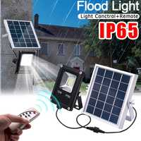 Smuxi 10W Waterproof Solar Floodlights Remote Control + Timer + Lighting Control Outdoor Lighting LED Spotlight Garden Lamp