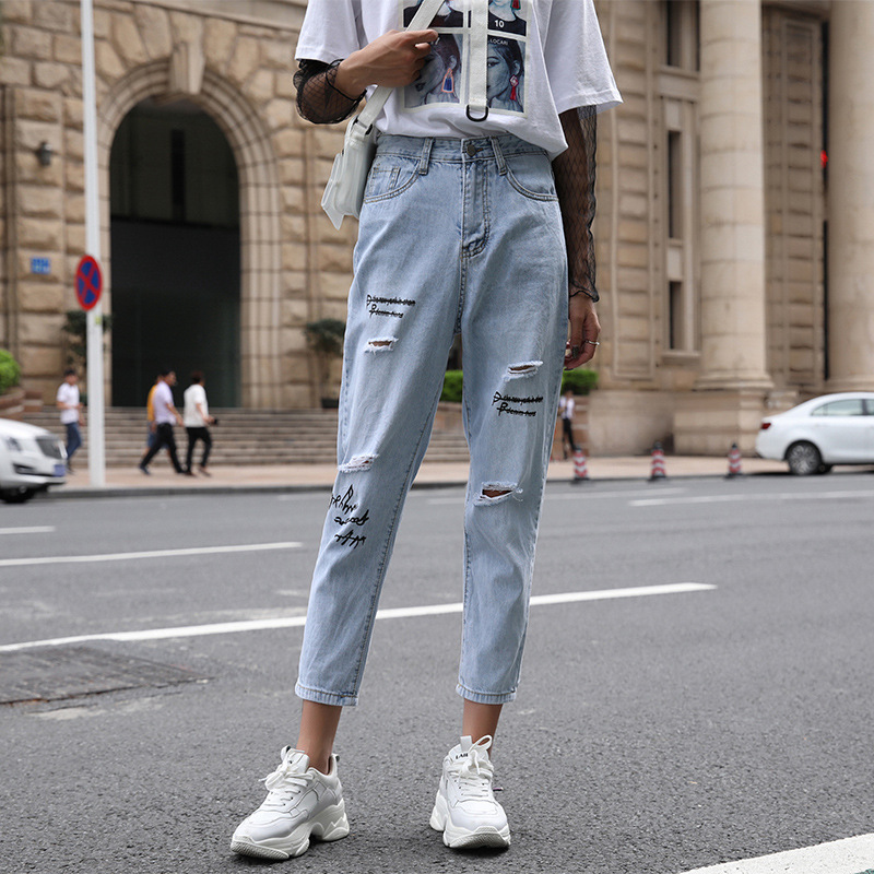Jeans   Women Spring-summer denim harem pants Euro-American fashionable chic pants with pockets and holes