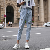 Jeans Women Spring summer denim harem pants Euro American fashionable chic pants with pockets and holes