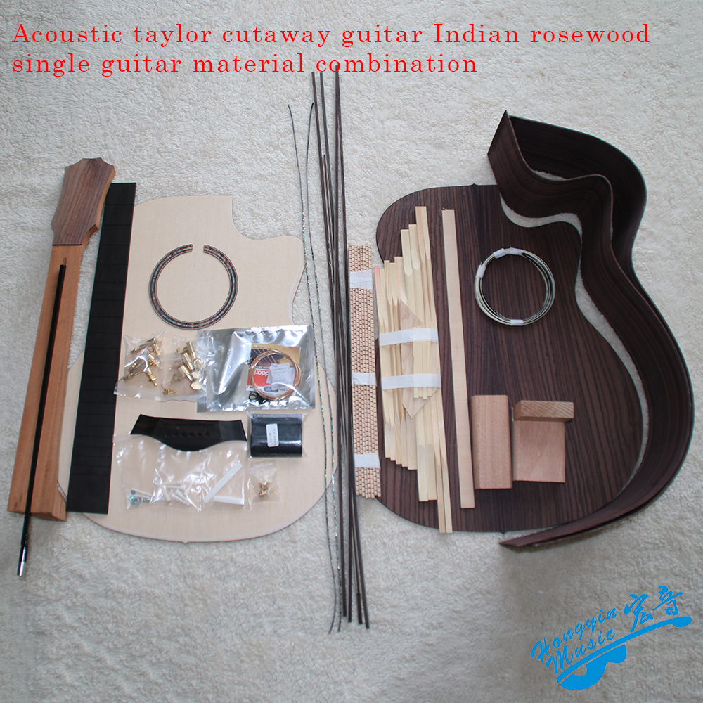 41inch Taylor Cutaway G-Type Acoustic Guitar DIY Kit African Mahogany Okoume Neck Rosewood Back Side Ebony Fretboard Spruce Top white tiger pattern 3a grade maple veneer lp style electric guitar diy kit african mahogany okoume body neck rosewood fretboard