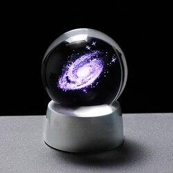 3d universo globo de vidro cristal galaxy bola miniatura modelo com exigível led casa decoração acessórios esfera astronomia