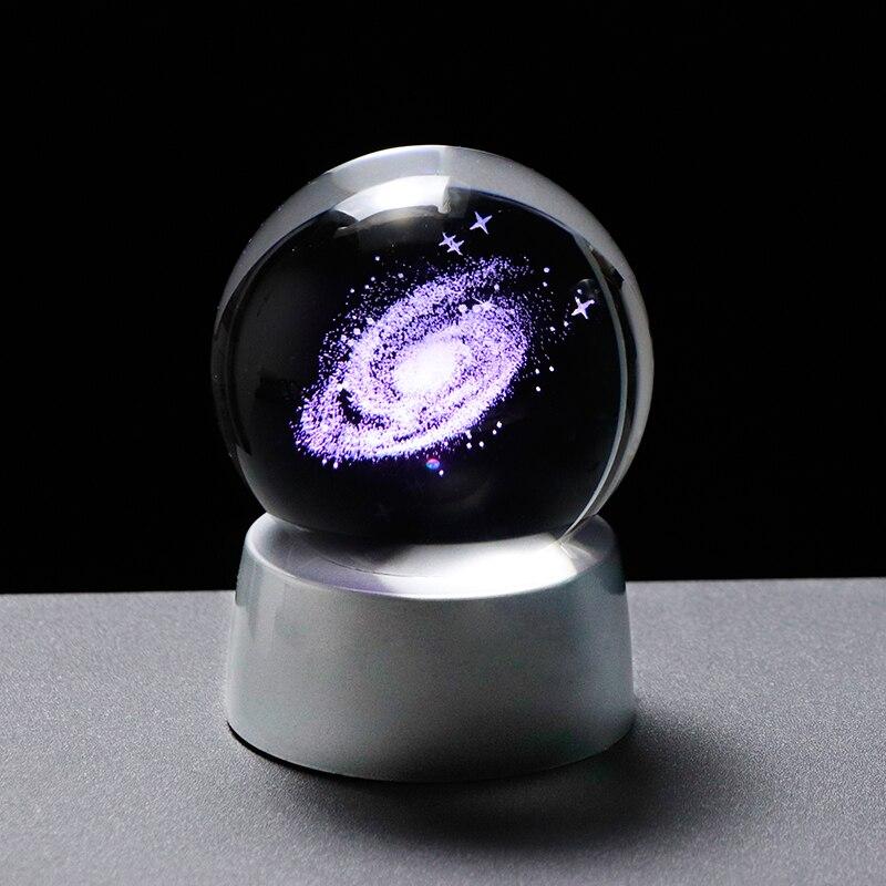 Univers 3D Globe de verre cristal galaxie boule Miniature modèle avec LED rechargeable décoration de la maison sphère accessoires astronomie