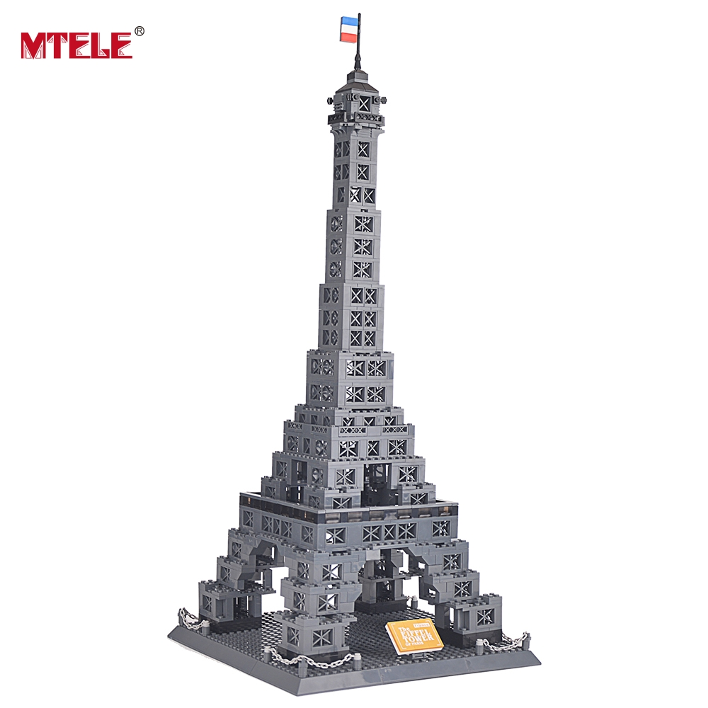 MTELE Brand New Famous 978 Piece Architecture series the Eiffel Tower 3D Model Building Blocks Classic Toys High Quality series s 3d puzzle paper diy papercraft double decker bus eiffel tower titanic tower bridge empire state building