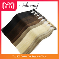 Isheeny 14 18 22 Remy Micro Beads Human Hair Extensions European 9 colors Black Brown Blonde Piano Nano Ring Hair 50pcs
