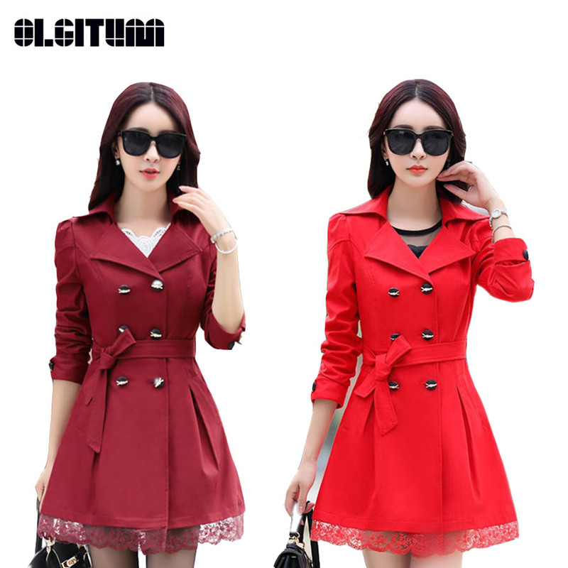 Women Trench Coat 2020 Plus Size Lace Thin Double-breasted Coat Women Winter Outerwear Clothing 5 Colors TR004