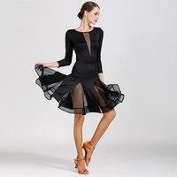Latin Dance Dress Black Mesh V Neck Latin Skirt Women/Female/Ladies Salsa/Rumba/Cha Cha Dress Latin Dance Competition DQL292