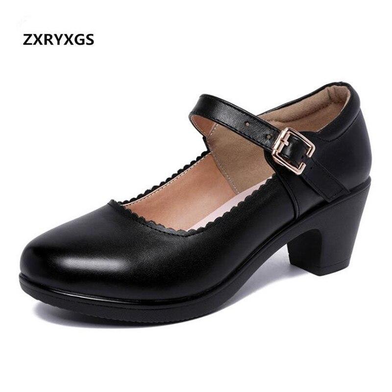 2018 новые осенние элегантные удобные туфли из натуральной кожи, женская модная повседневная обувь на толстом высоком каблуке 5 см, большие ра...