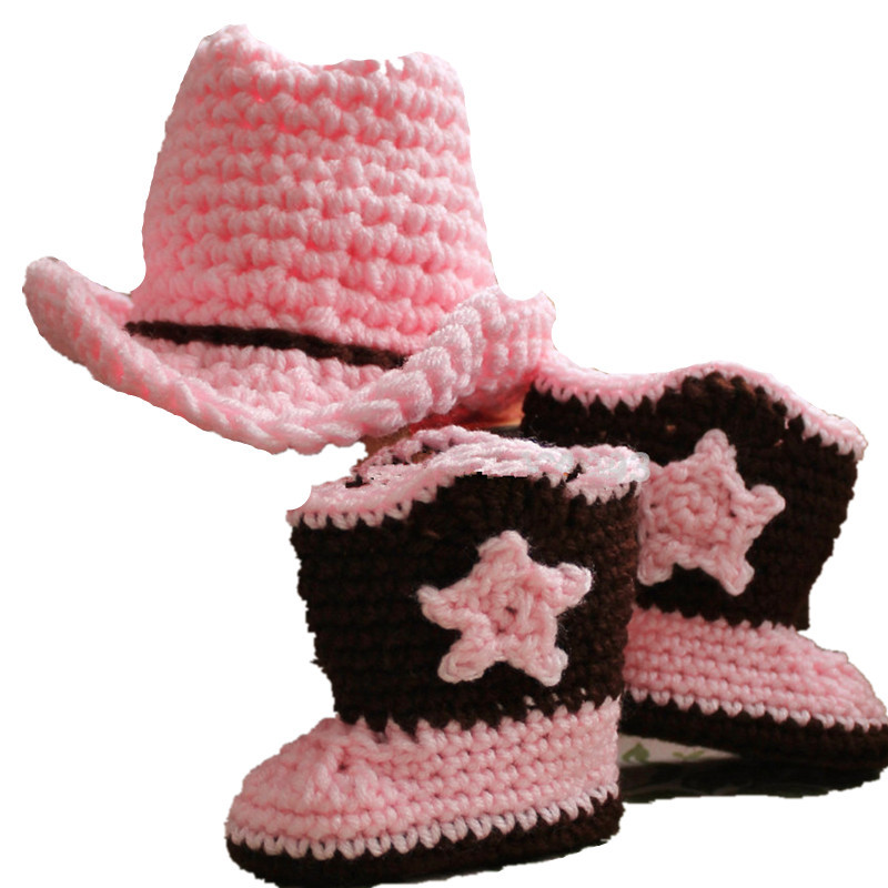 8136b0c45aa Baby Cowboy Cowgirl Crochet Accessories Infant Knitted Bowler Hat+Boots  Photography Props Outfits Newborn 24Months Costume Set-in Clothing Sets  from Mother ...