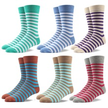 90% cotton Men stripe socks colorful casual EU 39-44  style Mid calf 6 pairs