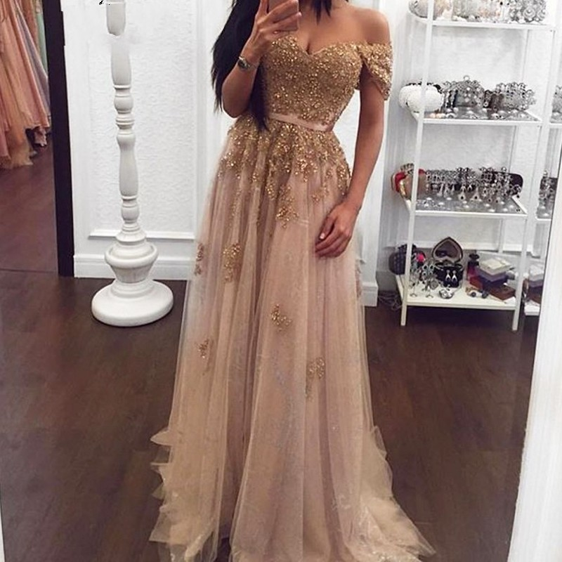 Champagne Prom Dresses 2019 A-Line Lace Sequin Tulle Party Maxys Long Prom Gowns Elegant Evening Dresses Vestidos De Fiesta