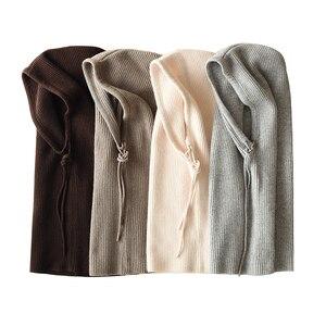 Image 2 - Femmes à capuche écharpe femme hiver chapeaux pour femmes cachemire 2018 nouvelle mode automne laine tricoté chaud enveloppes solide au Crochet écharpes