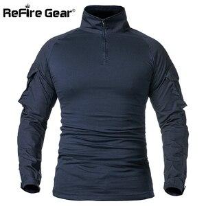 Image 2 - ReFire GearกองทัพCombat Tเสื้อผู้ชายแขนยาวยุทธวิธีเสื้อยืดผ้าฝ้ายทหารเสื้อMan Navy Blue Hunt Airsoft Tเสื้อ